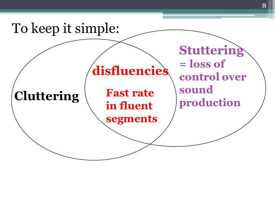 Van Zaalen's (2009) data also points us to the importance of three other areas for diagnosing cluttering: Observations of cluttering imprecisions : ▫errors in syllable or word structure; ▫extra (non-linguistic) pausing; Cluttering, not stuttering: ▫SSI-3 severity scores were equal or below 2 (no – mild stuttering); ▫Score on the Brutten speech situation checklist (S- 24) – or a similar scale – is within normal limits.