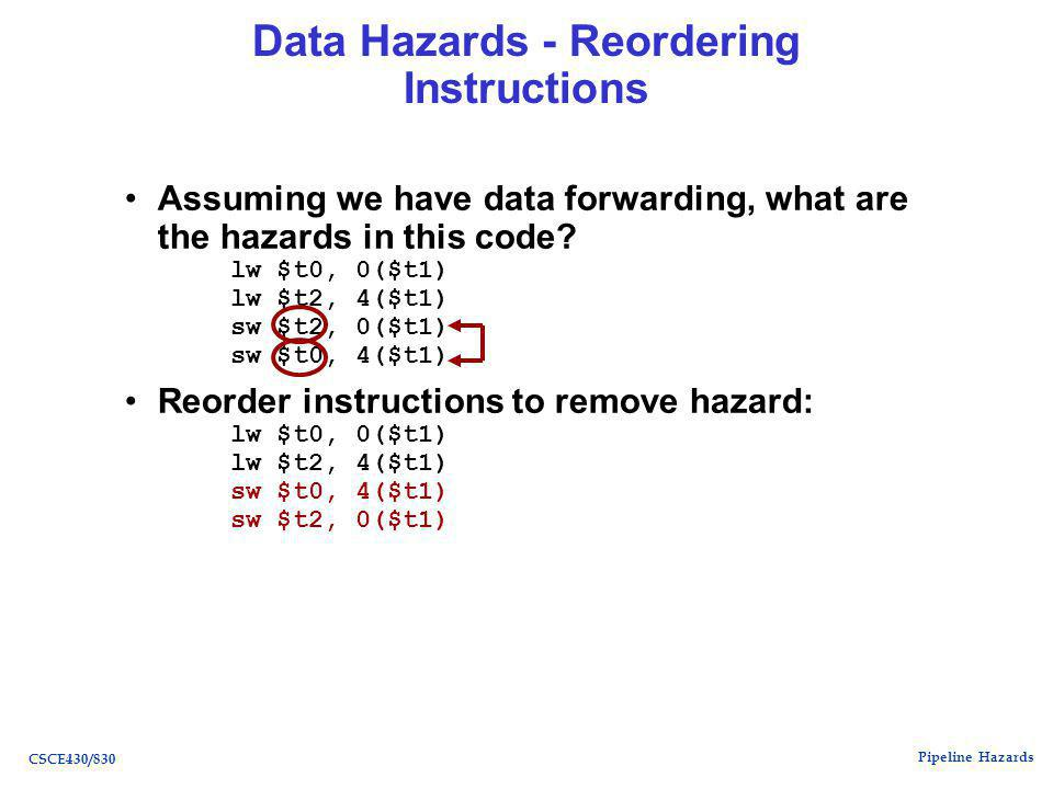Pipeline Hazards CSCE430/830 Data Hazards - Reordering Instructions Assuming we have data forwarding, what are the hazards in this code.