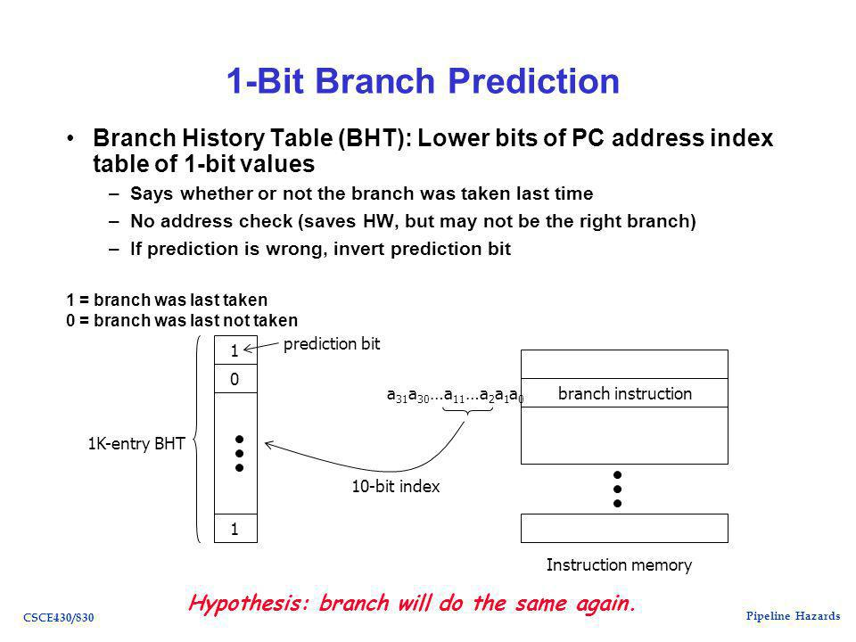 Pipeline Hazards CSCE430/830 1-Bit Branch Prediction Branch History Table (BHT): Lower bits of PC address index table of 1-bit values –Says whether or not the branch was taken last time –No address check (saves HW, but may not be the right branch) –If prediction is wrong, invert prediction bit a 31 a 30 …a 11 …a 2 a 1 a 0 branch instruction 1K-entry BHT 10-bit index 0 1 1 prediction bit Instruction memory Hypothesis: branch will do the same again.