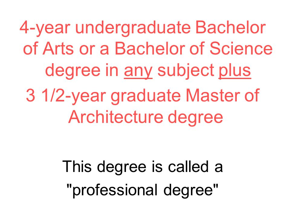 4-year undergraduate Bachelor of Arts or a Bachelor of Science degree in any subject plus 3 1/2-year graduate Master of Architecture degree This degree is called a professional degree