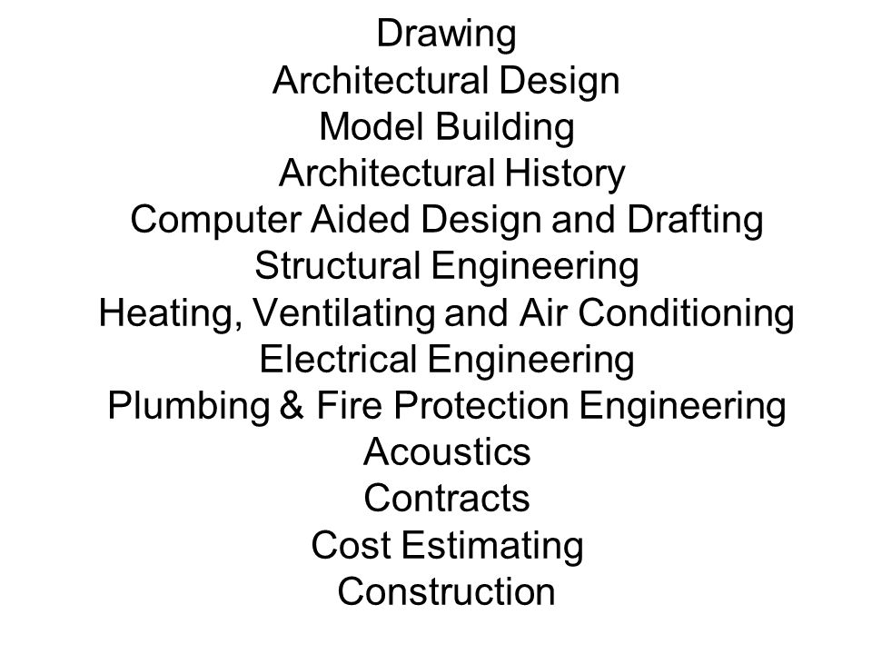 Drawing Architectural Design Model Building Architectural History Computer Aided Design and Drafting Structural Engineering Heating, Ventilating and Air Conditioning Electrical Engineering Plumbing & Fire Protection Engineering Acoustics Contracts Cost Estimating Construction