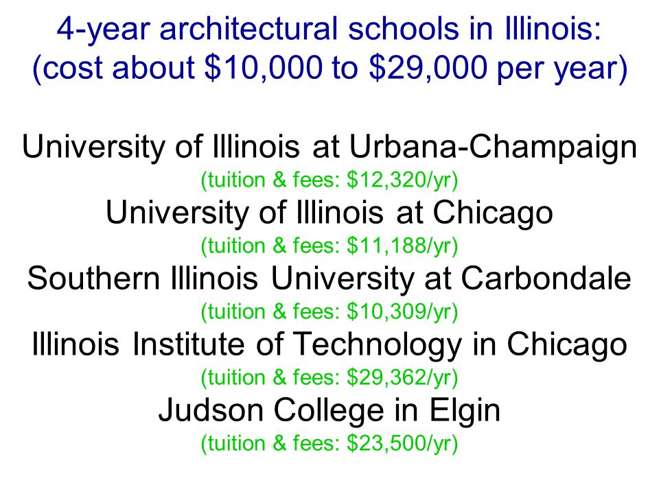 4-year architectural schools in Illinois: (cost about $10,000 to $29,000 per year) University of Illinois at Urbana-Champaign (tuition & fees: $12,320/yr) University of Illinois at Chicago (tuition & fees: $11,188/yr) Southern Illinois University at Carbondale (tuition & fees: $10,309/yr) Illinois Institute of Technology in Chicago (tuition & fees: $29,362/yr) Judson College in Elgin (tuition & fees: $23,500/yr)