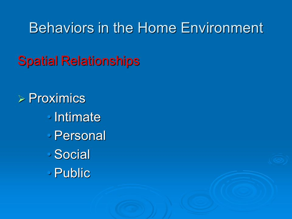 Behaviors in the Home Environment Spatial Relationships  Proximics IntimateIntimate PersonalPersonal SocialSocial PublicPublic