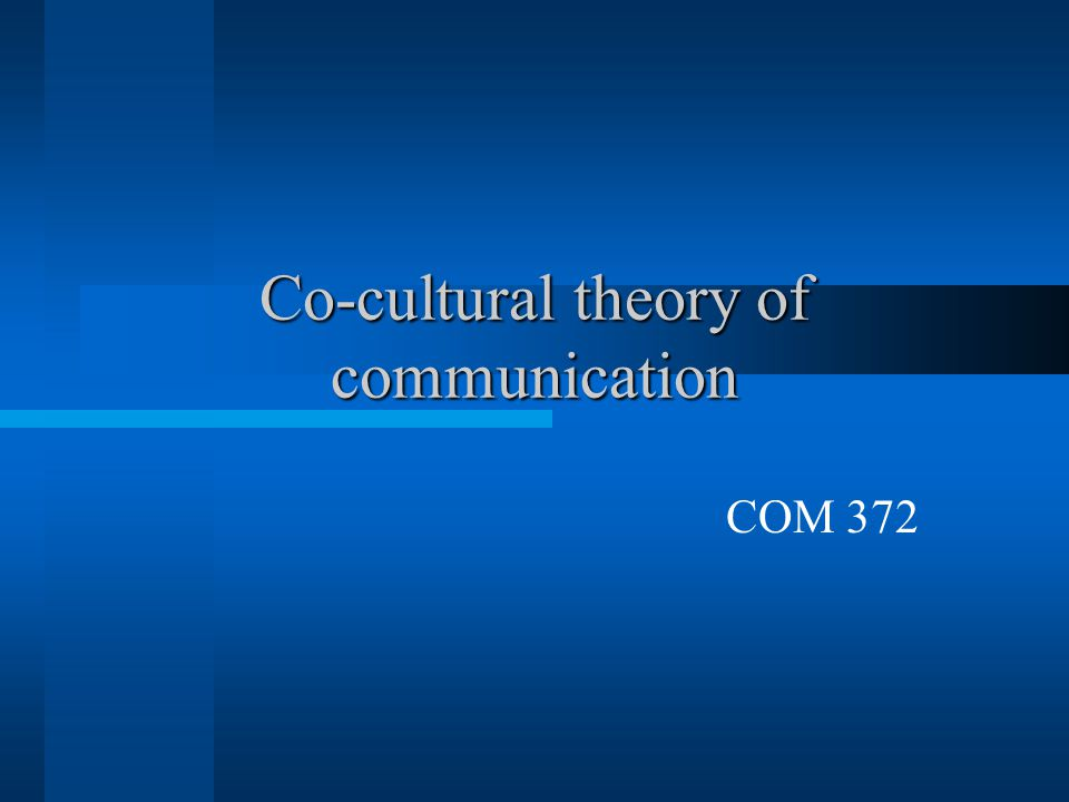 Co-cultural theory of communication COM 372