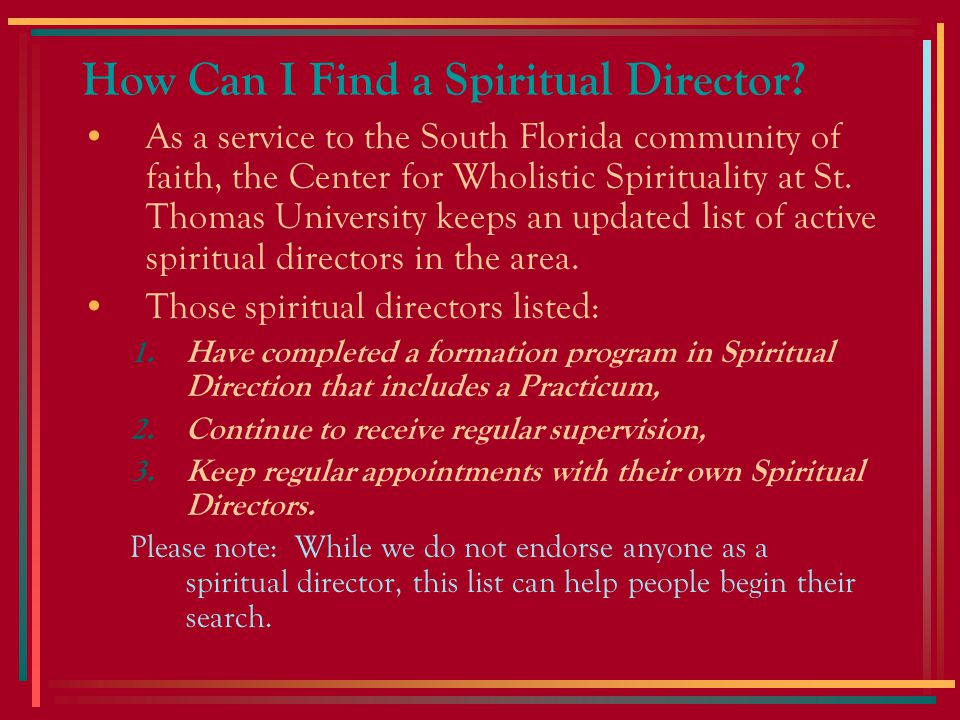 How Can I Find a Spiritual Director.