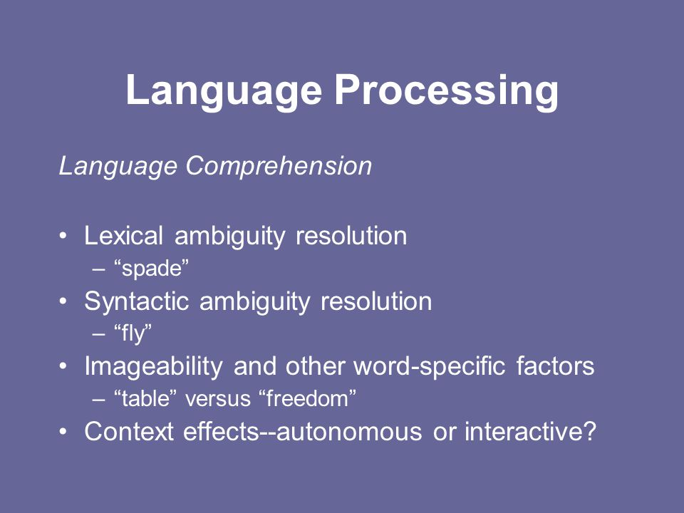 """Language Processing Language Comprehension Lexical ambiguity resolution –""""spade"""" Syntactic ambiguity resolution –""""fly"""" Imageability and other word-spe"""