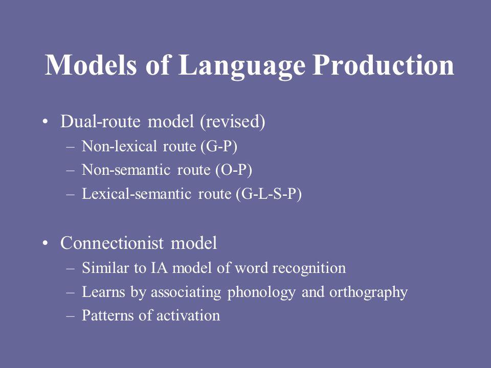 Models of Language Production Dual-route model (revised) –Non-lexical route (G-P) –Non-semantic route (O-P) –Lexical-semantic route (G-L-S-P) Connecti