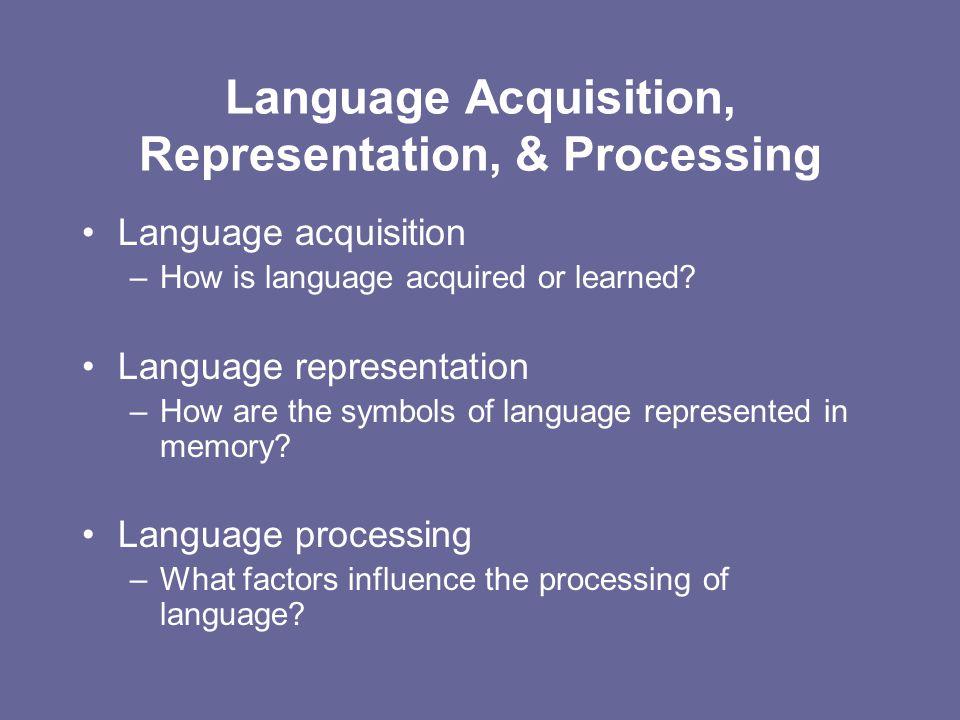 Language Acquisition, Representation, & Processing Language acquisition –How is language acquired or learned? Language representation –How are the sym