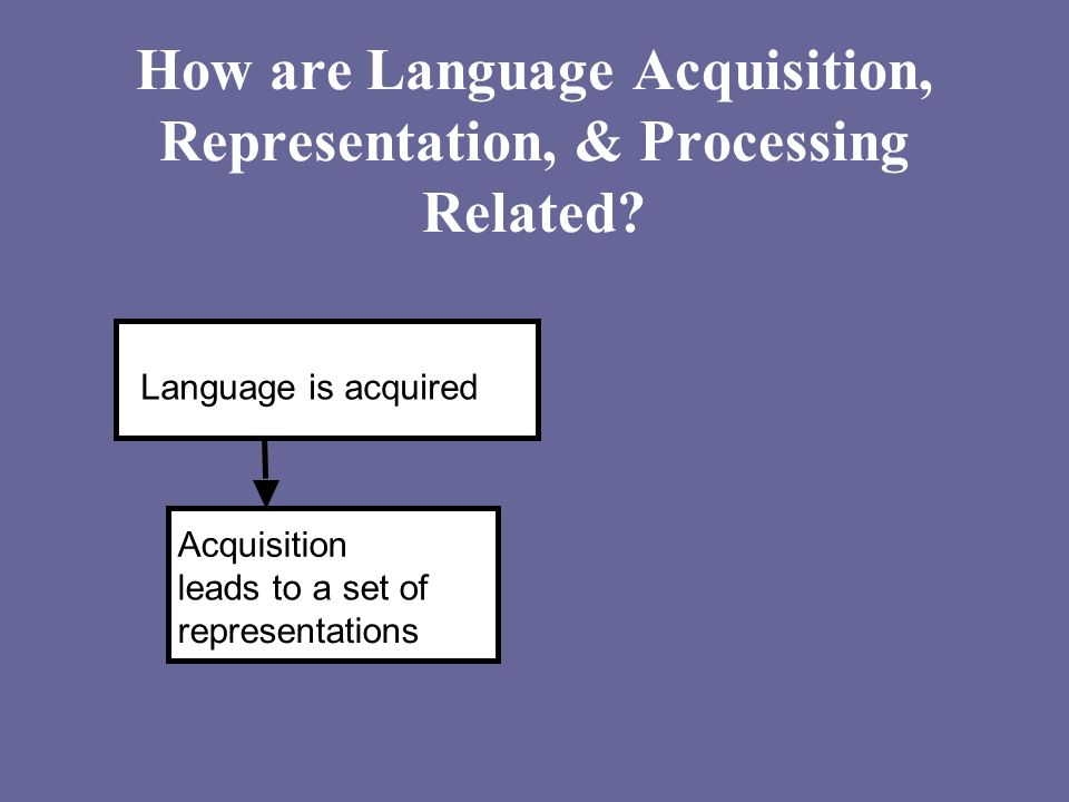 How are Language Acquisition, Representation, & Processing Related? Language is acquired Acquisition leads to a set of representations
