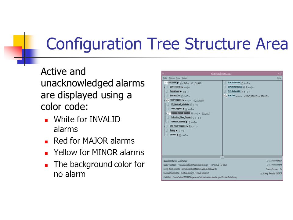Configuration Tree Structure Area Active and unacknowledged alarms are displayed using a color code: White for INVALID alarms Red for MAJOR alarms Yellow for MINOR alarms The background color for no alarm
