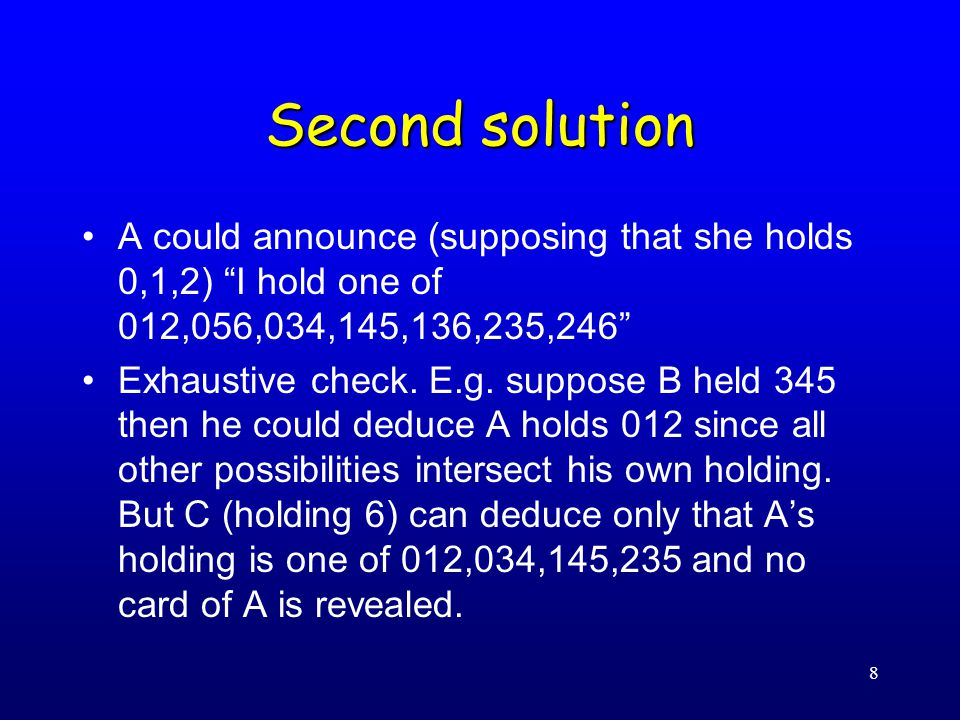 8 Second solution A could announce (supposing that she holds 0,1,2) I hold one of 012,056,034,145,136,235,246 Exhaustive check.