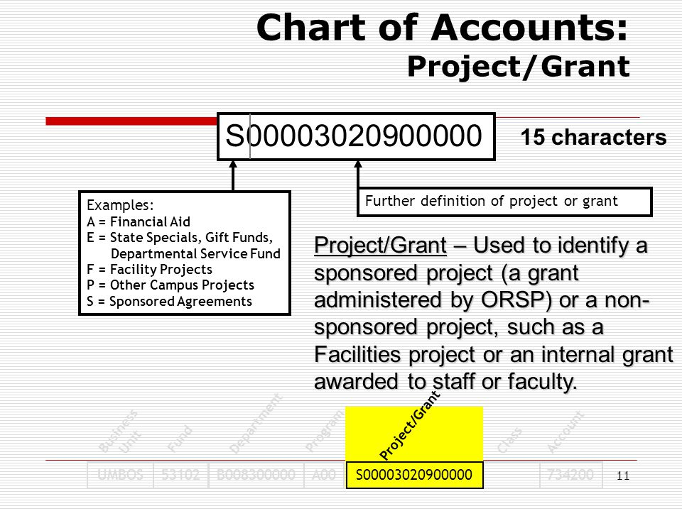 11 S00003020900000 Examples: A = Financial Aid E = State Specials, Gift Funds, Departmental Service Fund F = Facility Projects P = Other Campus Projec