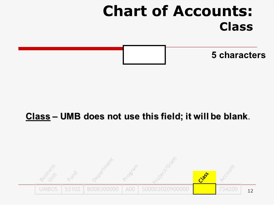 12 UMBOS53102B008300000A00S00003020900000734200 Business Unit Fund Program Project/Grant Class Account Department Chart of Accounts: Class 5 character