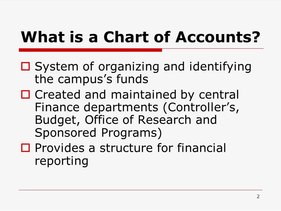 2 What is a Chart of Accounts.