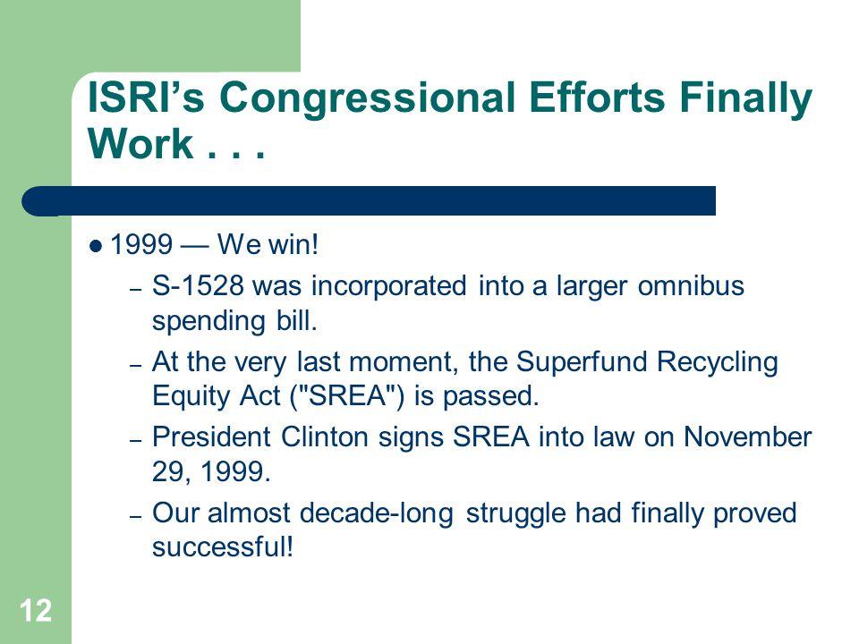 12 ISRI's Congressional Efforts Finally Work... 1999 — We win.