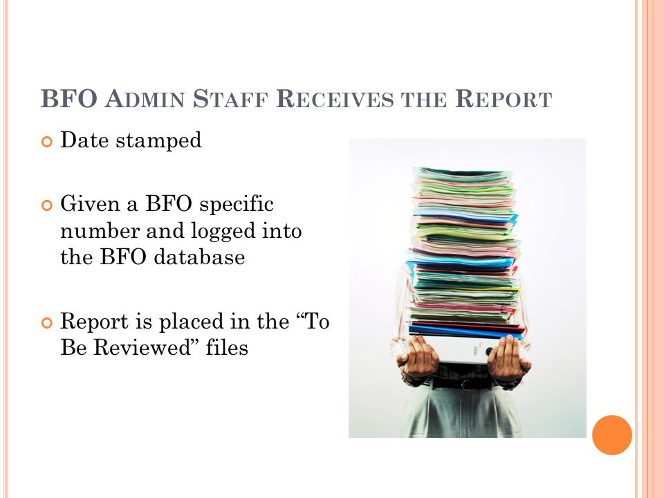 BFO A DMIN S TAFF R ECEIVES THE R EPORT Date stamped Given a BFO specific number and logged into the BFO database Report is placed in the To Be Reviewed files