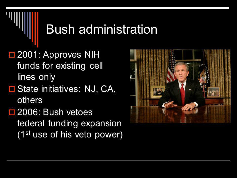 Bush administration  2001: Approves NIH funds for existing cell lines only  State initiatives: NJ, CA, others  2006: Bush vetoes federal funding expansion (1 st use of his veto power)