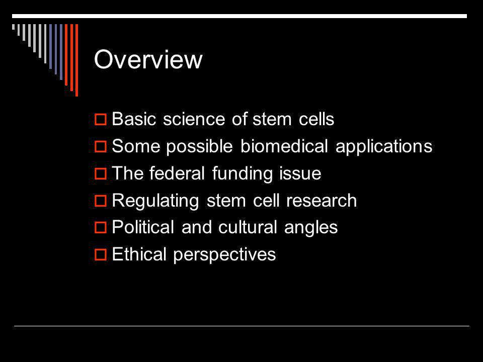 Overview  Basic science of stem cells  Some possible biomedical applications  The federal funding issue  Regulating stem cell research  Political and cultural angles  Ethical perspectives