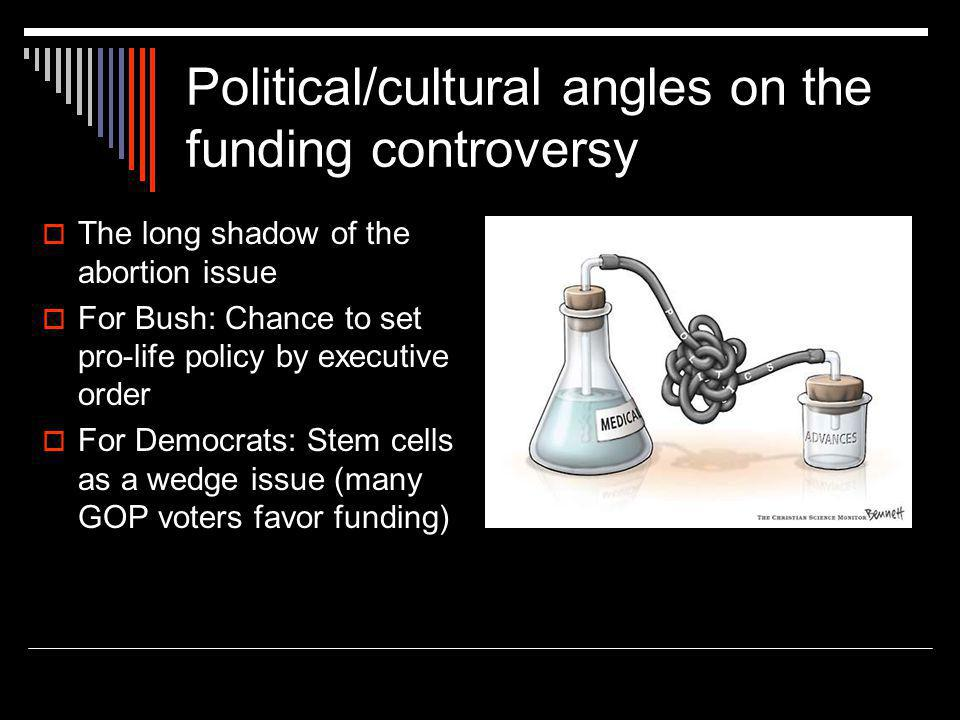 Political/cultural angles on the funding controversy  The long shadow of the abortion issue  For Bush: Chance to set pro-life policy by executive order  For Democrats: Stem cells as a wedge issue (many GOP voters favor funding)