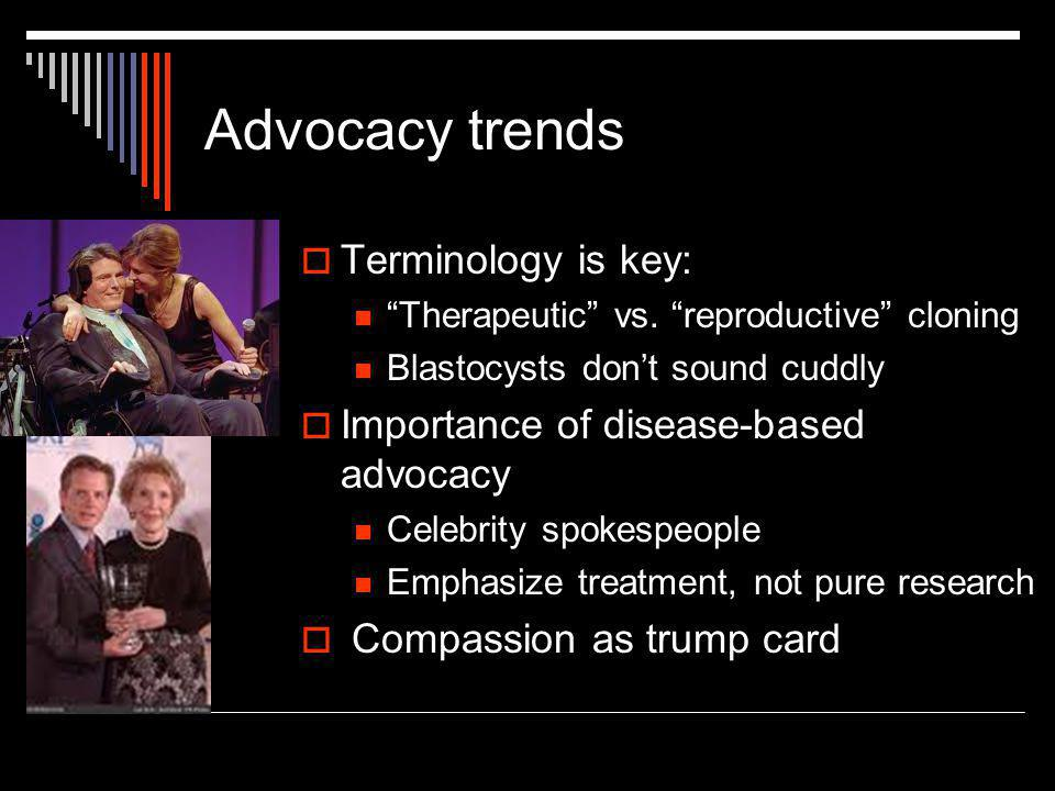 """Advocacy trends  Terminology is key: """"Therapeutic"""" vs. """"reproductive"""" cloning Blastocysts don't sound cuddly  Importance of disease-based advocacy C"""