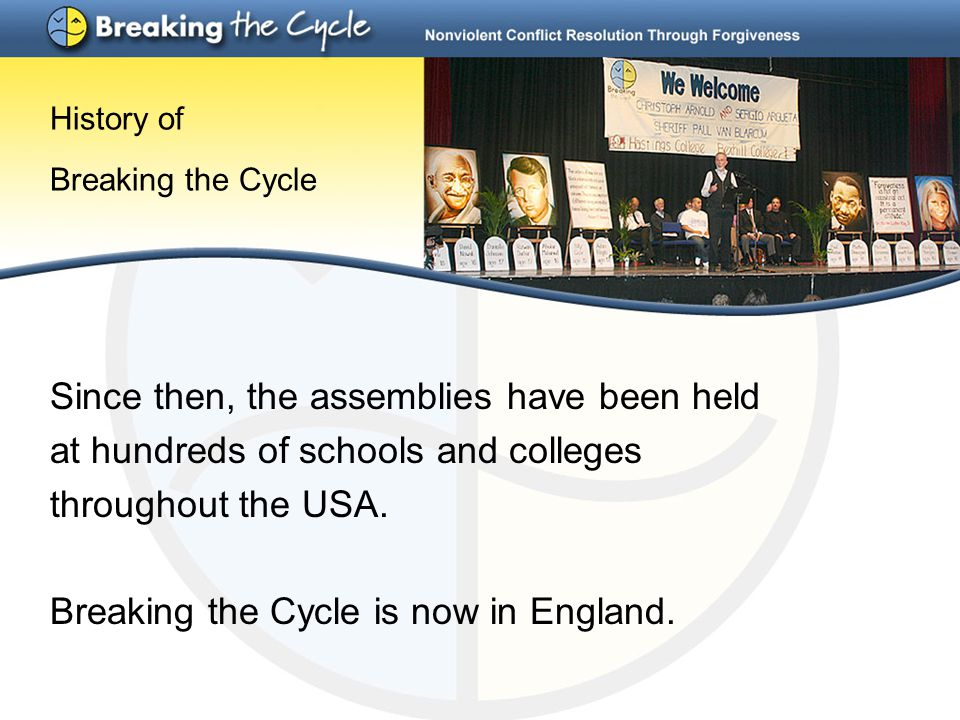 History of Breaking the Cycle Since then, the assemblies have been held at hundreds of schools and colleges throughout the USA.