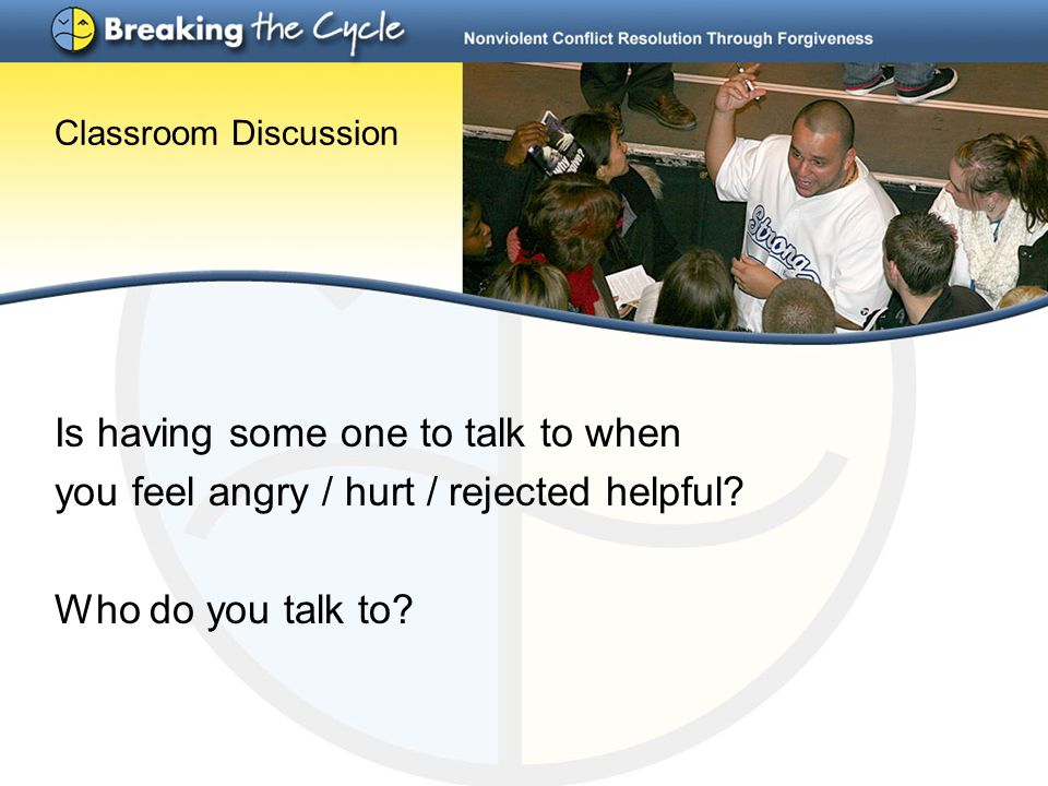 Classroom Discussion Is having some one to talk to when you feel angry / hurt / rejected helpful? Who do you talk to?