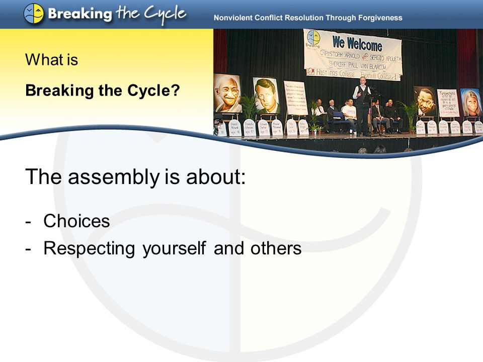 The assembly is about: -Choices -Respecting yourself and others What is Breaking the Cycle?