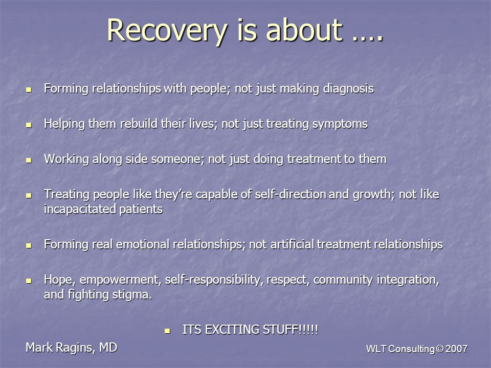 WLT Consulting © 2007 Recovery is about ….