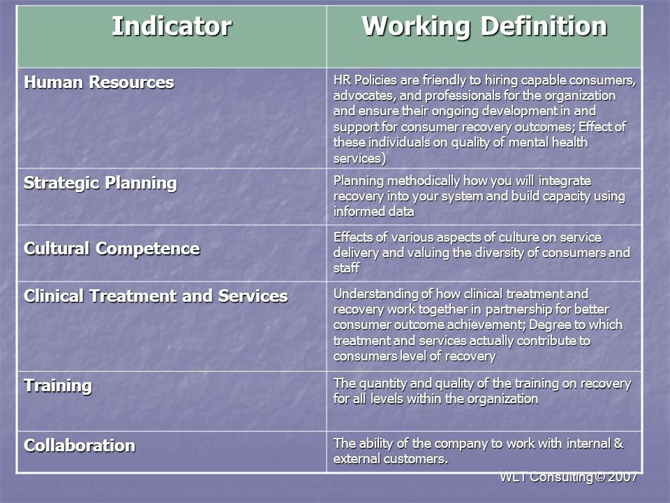 WLT Consulting © 2007 Indicator Working Definition Human Resources HR Policies are friendly to hiring capable consumers, advocates, and professionals for the organization and ensure their ongoing development in and support for consumer recovery outcomes; Effect of these individuals on quality of mental health services) Strategic Planning Planning methodically how you will integrate recovery into your system and build capacity using informed data Cultural Competence Effects of various aspects of culture on service delivery and valuing the diversity of consumers and staff Clinical Treatment and Services Understanding of how clinical treatment and recovery work together in partnership for better consumer outcome achievement; Degree to which treatment and services actually contribute to consumers level of recovery Training The quantity and quality of the training on recovery for all levels within the organization Collaboration The ability of the company to work with internal & external customers.