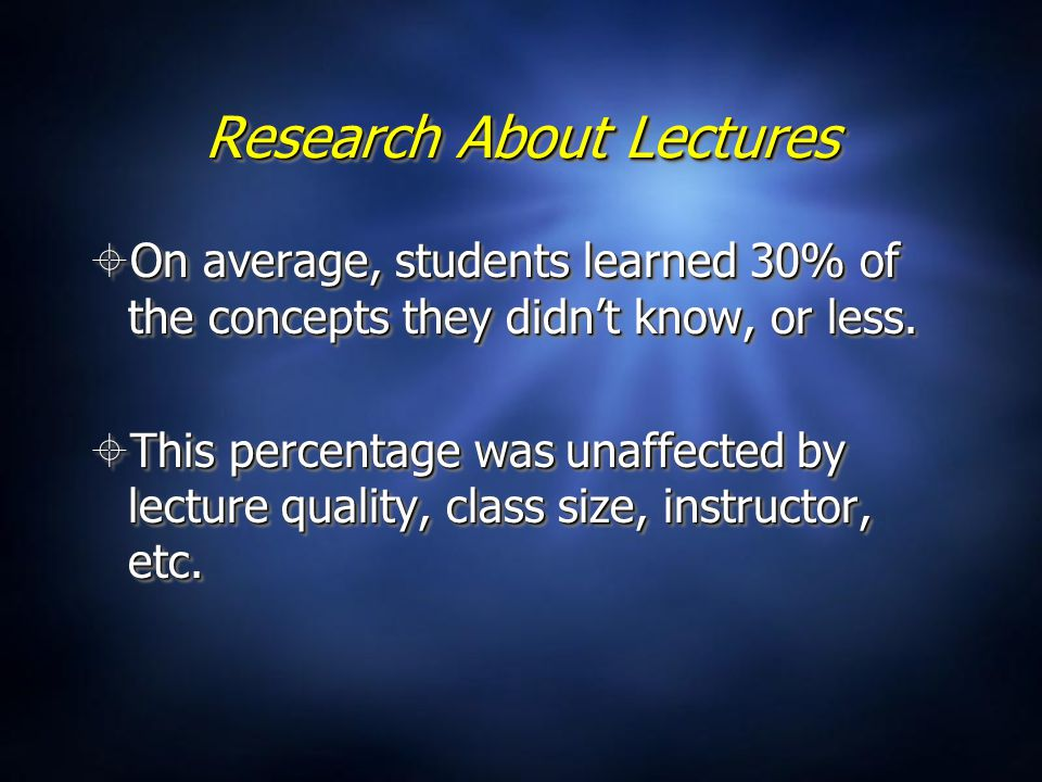 Research About Lectures  On average, students learned 30% of the concepts they didn't know, or less.