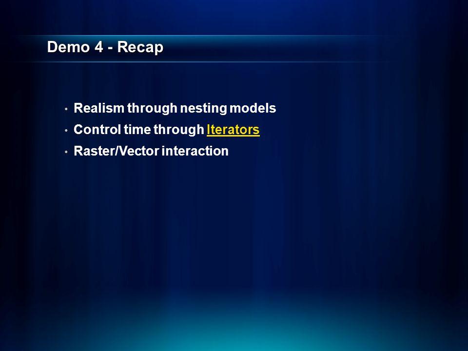 Demo 4 - Recap Realism through nesting models Control time through Iterators Raster/Vector interaction