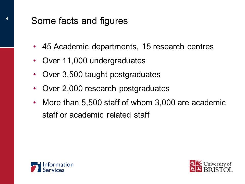 4 Some facts and figures 45 Academic departments, 15 research centres Over 11,000 undergraduates Over 3,500 taught postgraduates Over 2,000 research postgraduates More than 5,500 staff of whom 3,000 are academic staff or academic related staff
