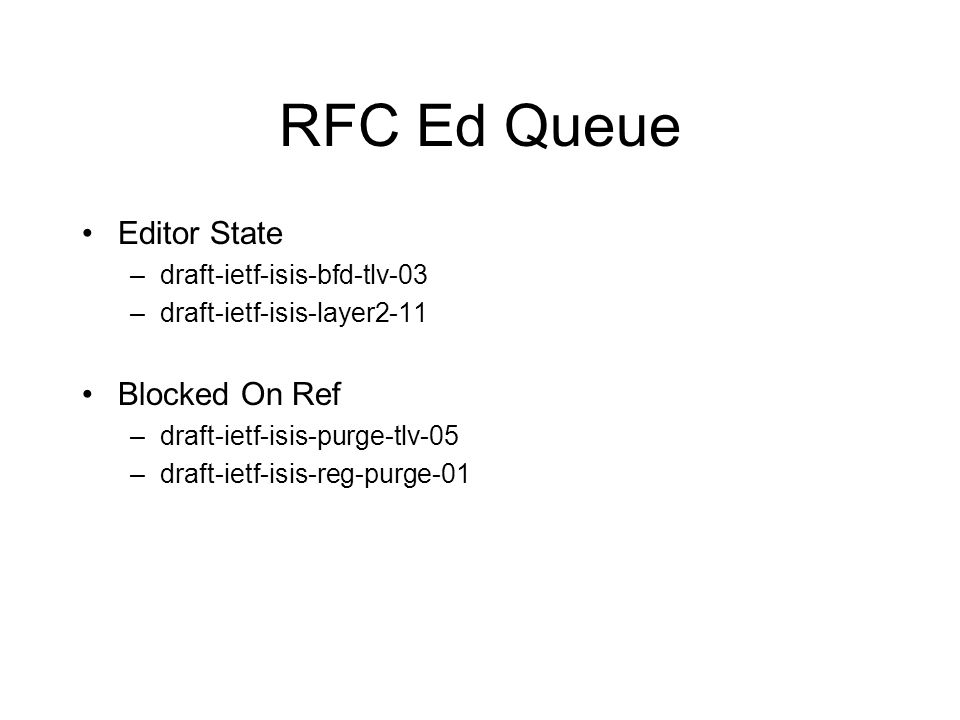 RFC Ed Queue Editor State –draft-ietf-isis-bfd-tlv-03 –draft-ietf-isis-layer2-11 Blocked On Ref –draft-ietf-isis-purge-tlv-05 –draft-ietf-isis-reg-purge-01