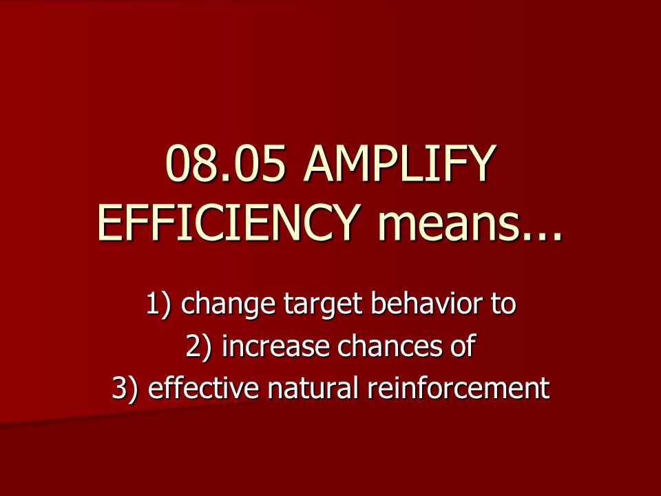 08.05 AMPLIFY EFFICIENCY means...