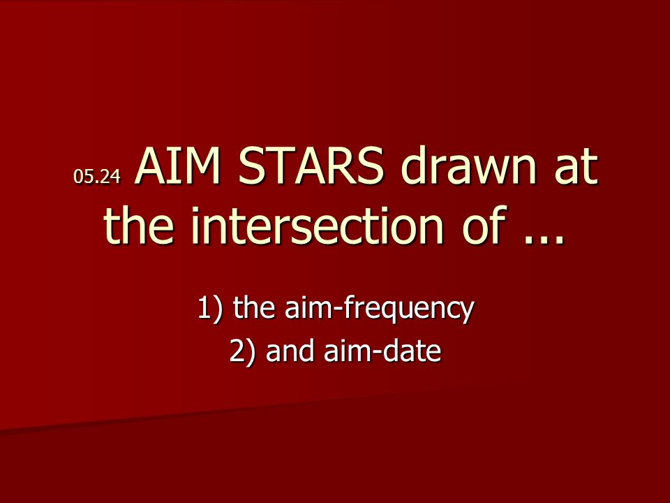 05.24 AIM STARS drawn at the intersection of... 1) the aim-frequency 2) and aim-date