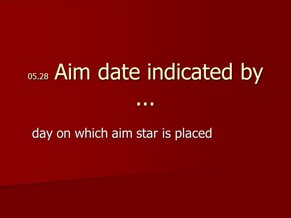 05.28 Aim date indicated by... day on which aim star is placed