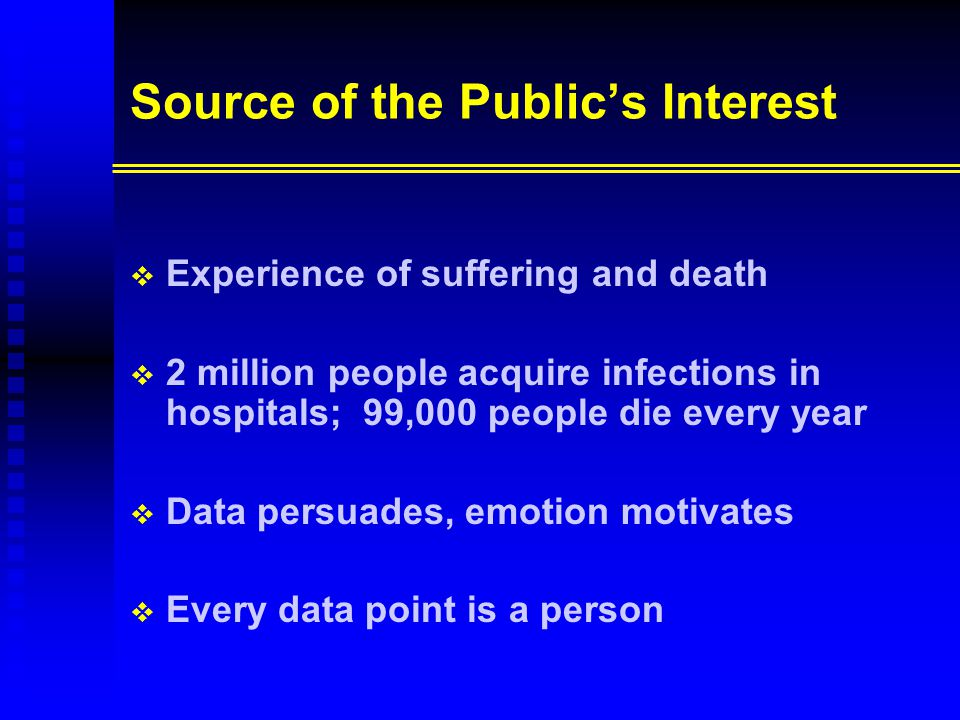 Source of the Public's Interest   Experience of suffering and death   2 million people acquire infections in hospitals; 99,000 people die every ye