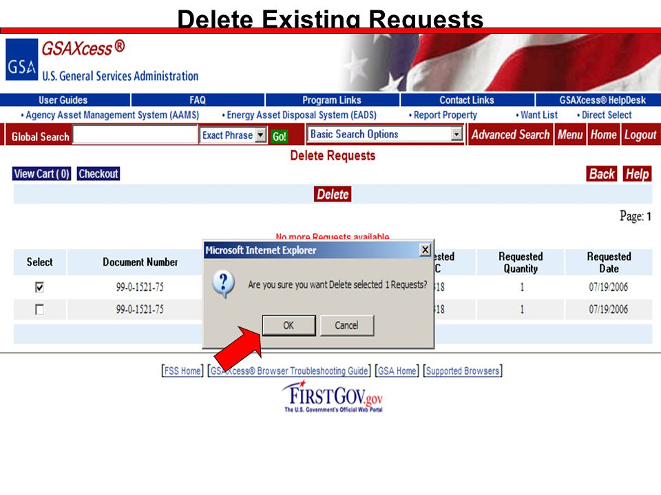 Federal Acquisition Service U.S. General Services Administration Delete Existing Requests