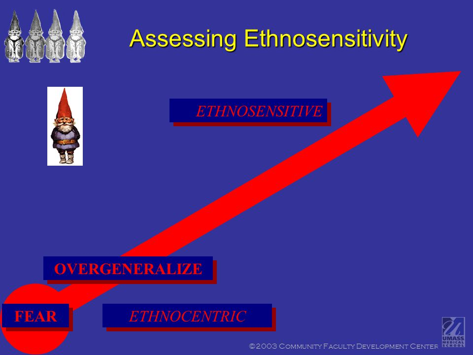 ©2003 Community Faculty Development Center ETHNOSENSITIVE Assessing Ethnosensitivity ETHNOCENTRIC FEAR OVERGENERALIZE