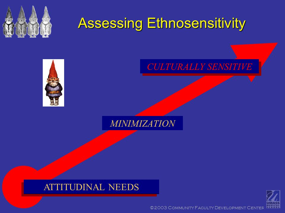 ©2003 Community Faculty Development Center CULTURALLY EGOCENTRIC ATTITUDINAL NEEDS CULTURALLY SENSITIVE Assessing Ethnosensitivity MINIMIZATION