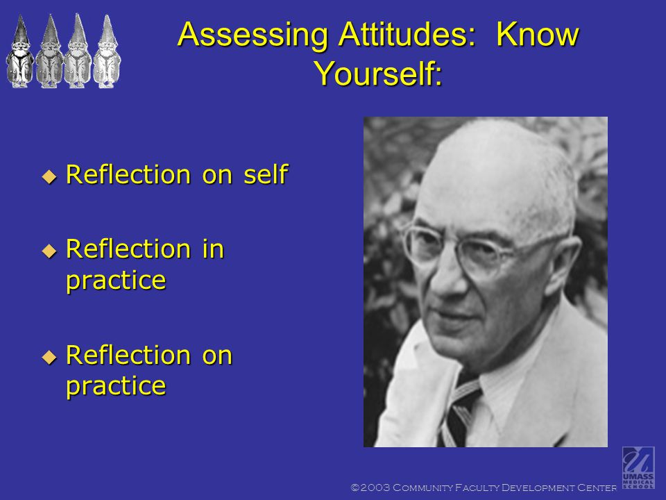 ©2003 Community Faculty Development Center Assessing Attitudes: Know Yourself:  Reflection on self  Reflection in practice  Reflection on practice