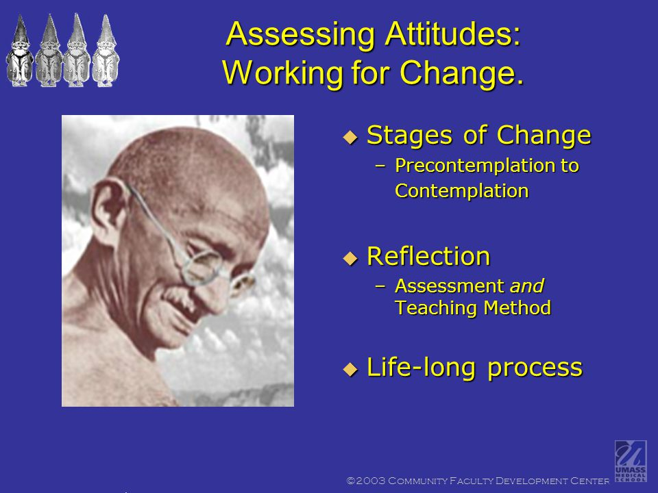 ©2003 Community Faculty Development Center Assessing Attitudes: Working for Change.