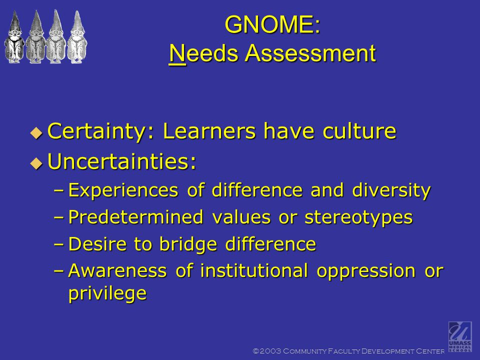 ©2003 Community Faculty Development Center GNOME: Needs Assessment  Certainty: Learners have culture  Uncertainties: –Experiences of difference and diversity –Predetermined values or stereotypes –Desire to bridge difference –Awareness of institutional oppression or privilege