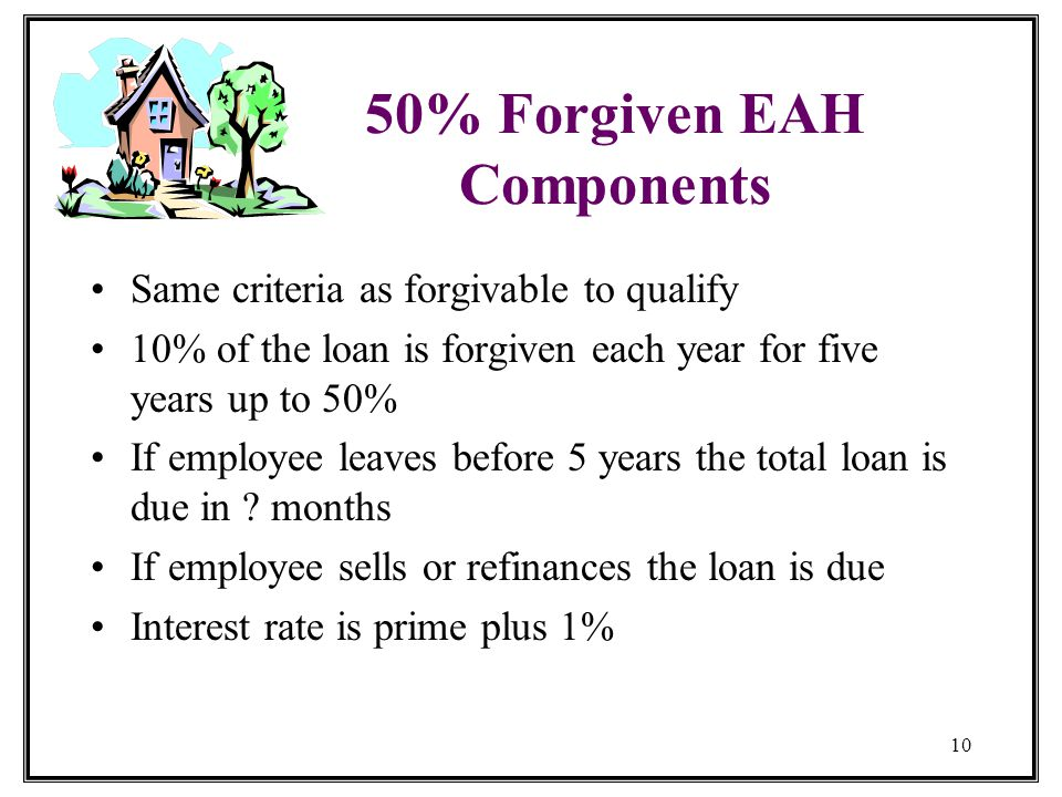 10 50% Forgiven EAH Components Same criteria as forgivable to qualify 10% of the loan is forgiven each year for five years up to 50% If employee leaves before 5 years the total loan is due in .