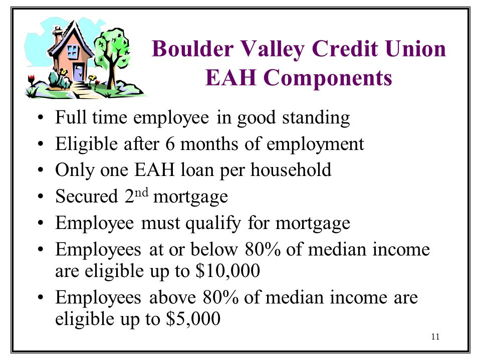 11 Boulder Valley Credit Union EAH Components Full time employee in good standing Eligible after 6 months of employment Only one EAH loan per household Secured 2 nd mortgage Employee must qualify for mortgage Employees at or below 80% of median income are eligible up to $10,000 Employees above 80% of median income are eligible up to $5,000