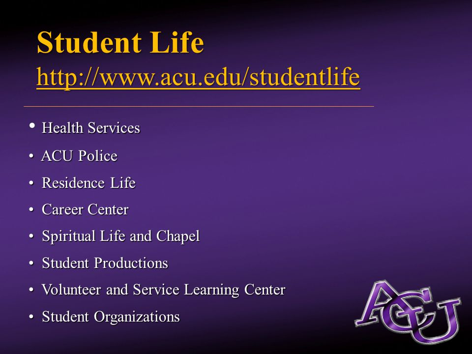 On-Campus Health Concerns Meningitis Staph Staph Flu Flu Strep Throat Strep Throat Mono Mono For more information visit: www.acu.edu/medical
