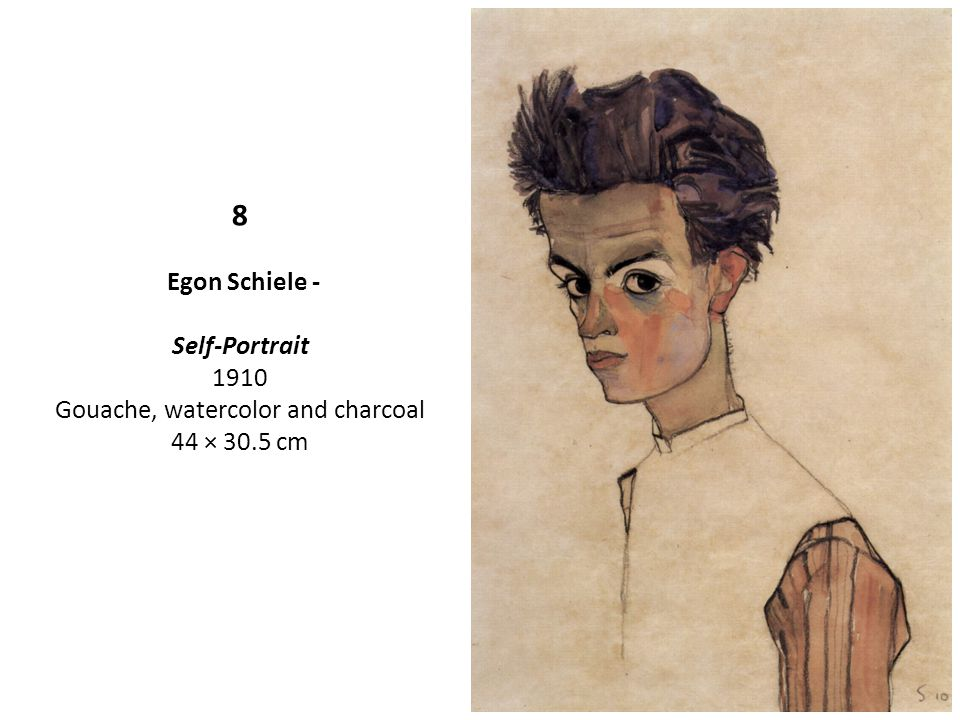 8 Egon Schiele - Self-Portrait 1910 Gouache, watercolor and charcoal 44 × 30.5 cm