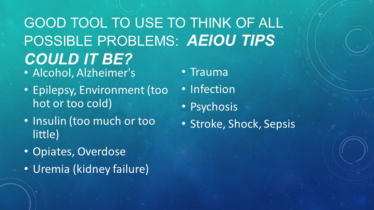 GOOD TOOL TO USE TO THINK OF ALL POSSIBLE PROBLEMS: AEIOU TIPS COULD IT BE.