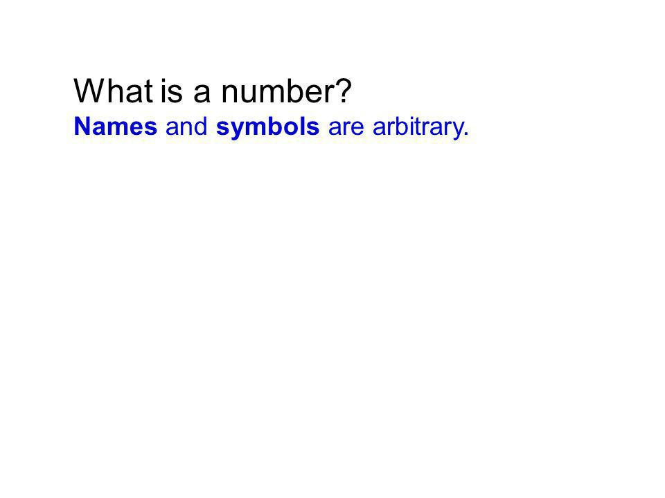 What is a number Names and symbols are arbitrary.