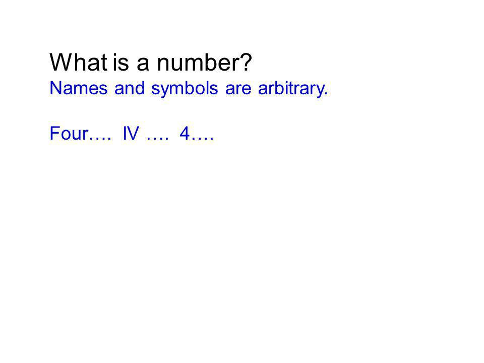 What is a number? Names and symbols are arbitrary. Four…. IV …. 4….
